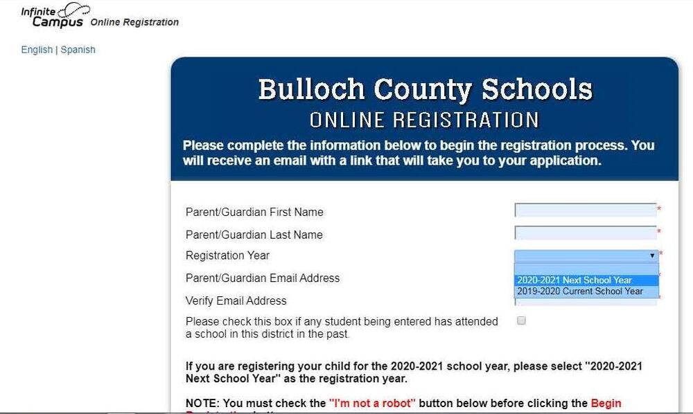 registration screenshot of how to select appropriate enrollment year