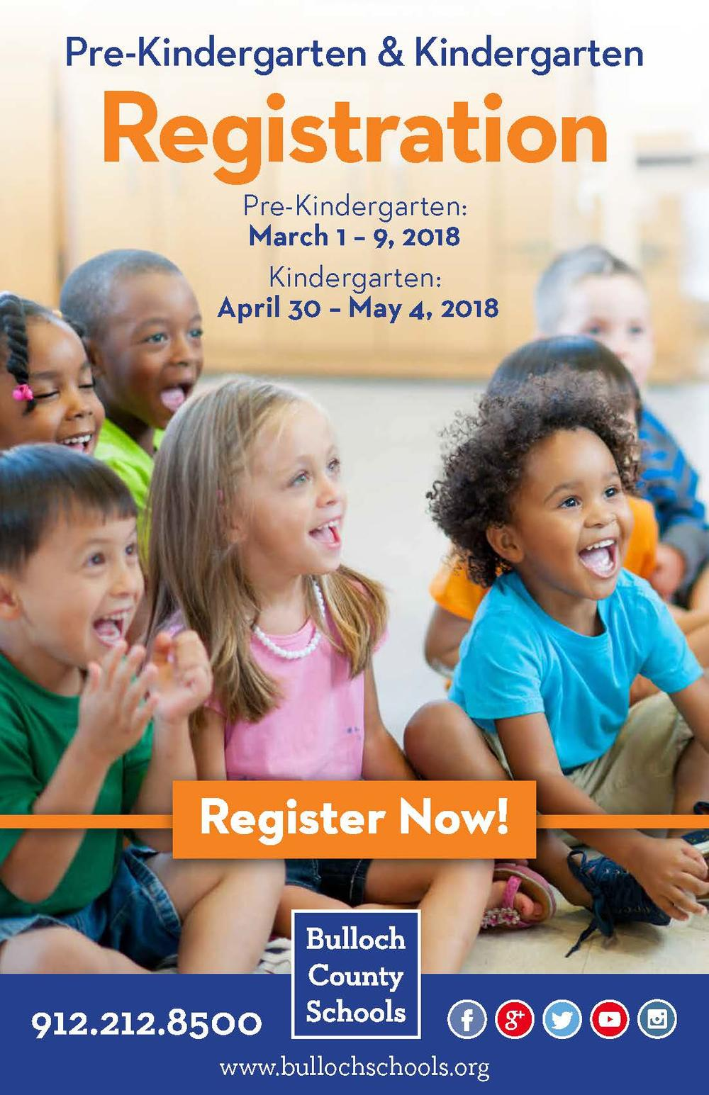 Prekindergarten and Kindergarten Registration Poster