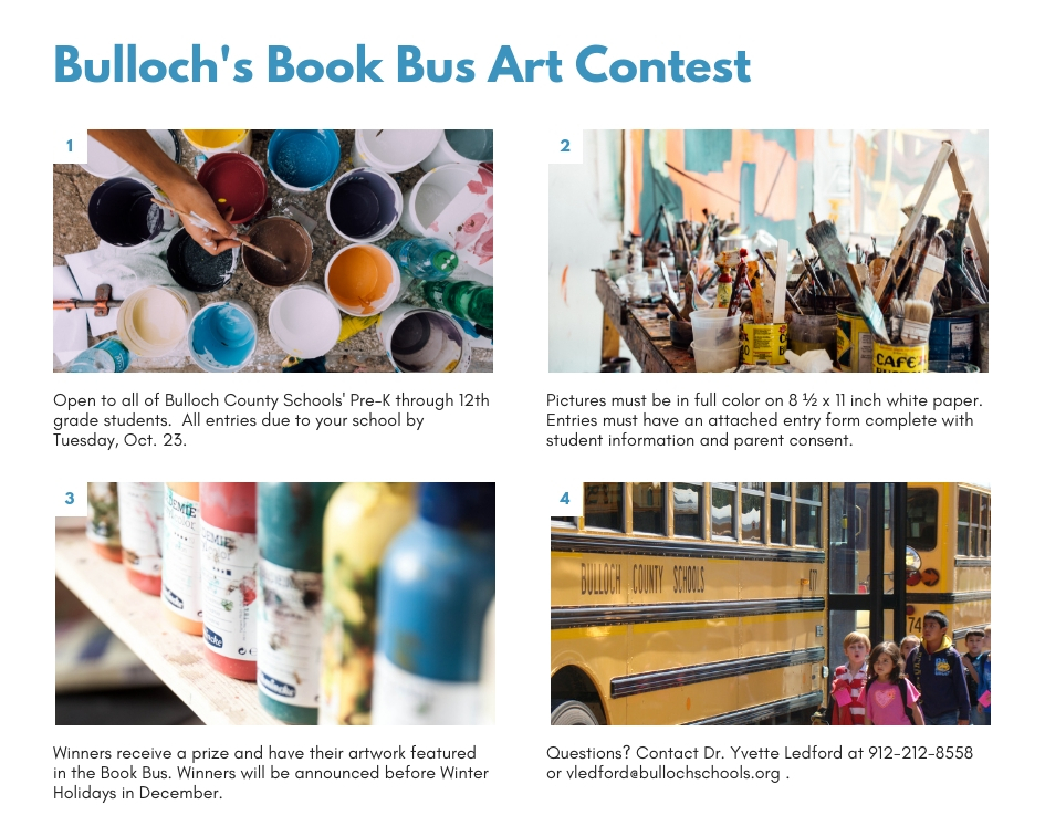 Book Bus Art Contest rules advertisement