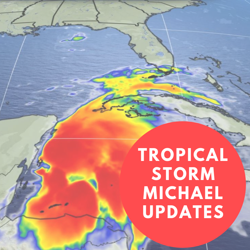Tropical Storm Michael Update graphic